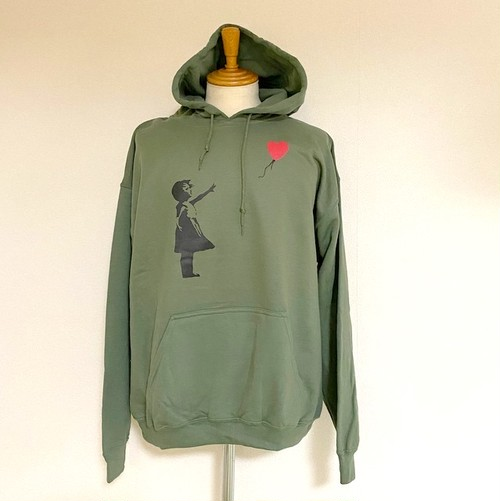 BANKSY  HOODIE - BALLOON GIRL Military Green