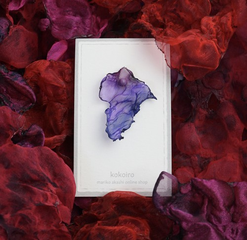 濃い紫|染めオーガンジーの片耳アートピアス
