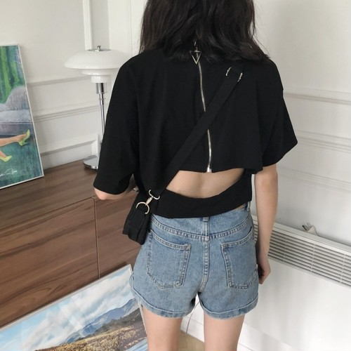 【トップス】夏韓国風無地バックレス短袖ルーズファスナー着痩せTシャツ