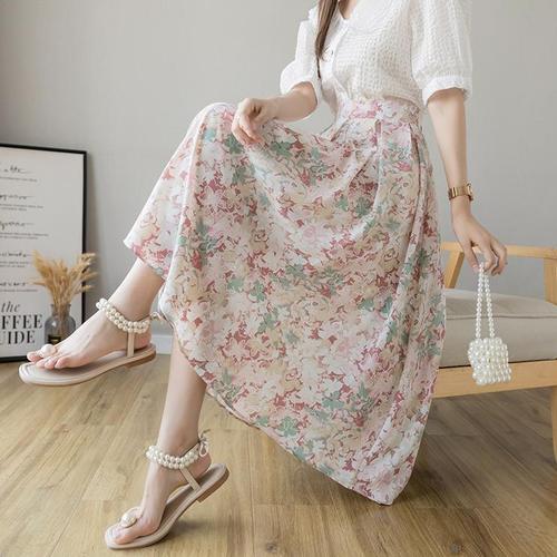 【bottoms】輝いて超人気 ! 清新人気デザイン花柄スカート2色着心地良い