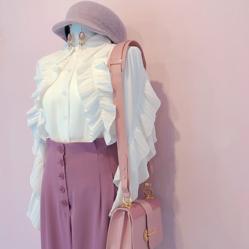 pleated frill blouse