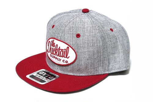 """DUCKTAIL CLOTHING SNAPBACK CAP """"CLASSIC"""" HEATHER GRAY×RED ダックテイル クロージング スナップバックキャップ"""