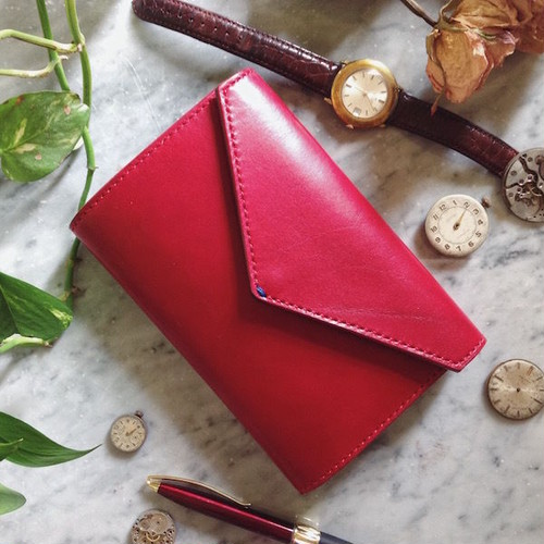 Letter - Leather Notebook cover-M / Rosso