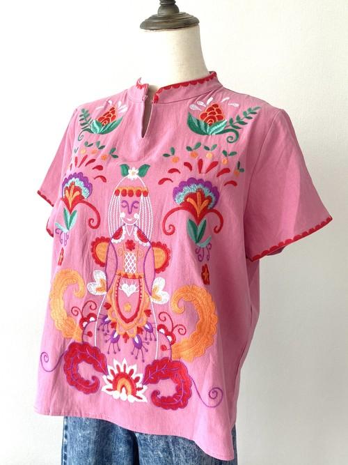 THAILAND 刺繍ブラウス_マオカラー_pink