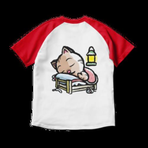 <ラグランTシャツ ホワイト×レッド>両面印刷 おやすみーちゃん