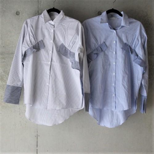 ストライプ フリルポイント バイカラー シャツ(2カラー)