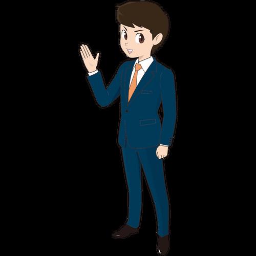 説明する若い男性ビジネスマン