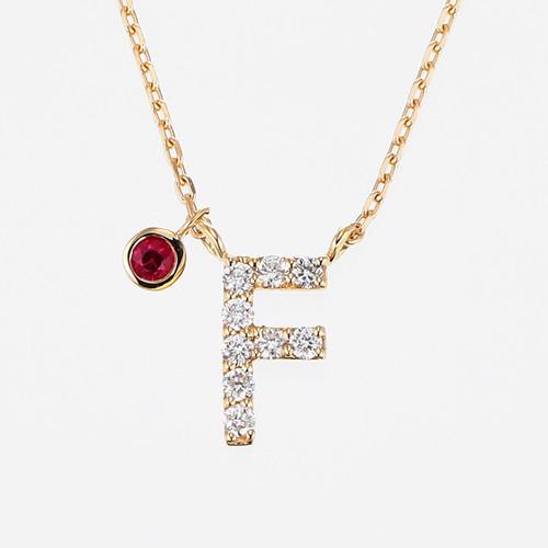 Initial K18YG Diamond【F】Pendant Necklace with Charm (ダイヤモンド イニシャル【F】ペンダントネックレス チャーム付き)