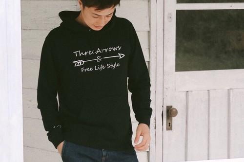 【10/2 21:00発売開始】ThreeArrowsロゴ パーカー(black)