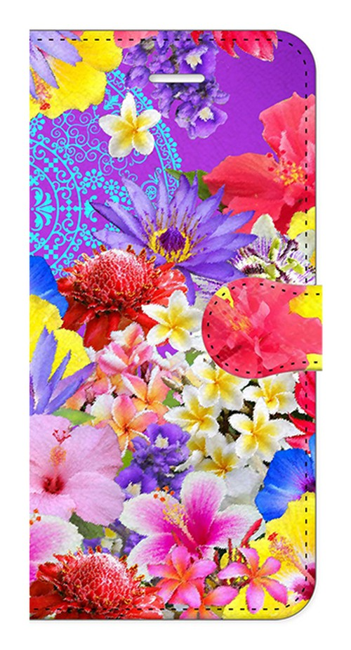 【iPhone7/iPhone8】Hawaiian Flowers Garden ハワイアンフラワーズガーデン ー Blue Violet ブルーバイオレット 手帳型スマホケース
