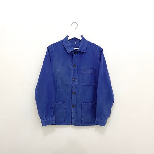 "FRANCE 80s~vintage""KIDUR""ink blue cotton twill work jacket"