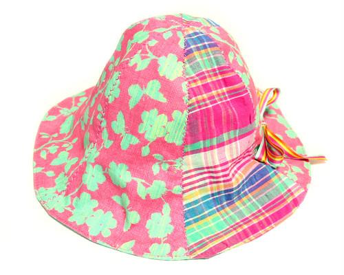 あごひも付き ベビーチューリップハット_ピンク花 サイズ調節可 43~48cm