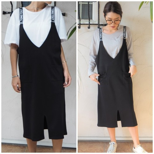 Letter Skirt Rompers《BLACK》