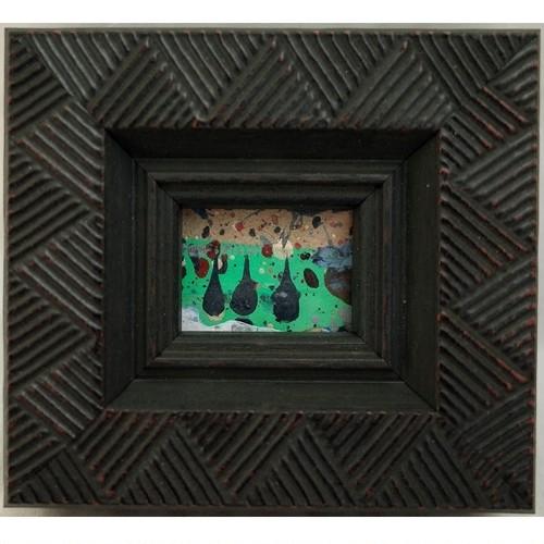 「みっつ」 段ボールにアクリル * 現代アート 絵画 抽象画 ミニ額 フレーム 内野隆文 takafumiuchino