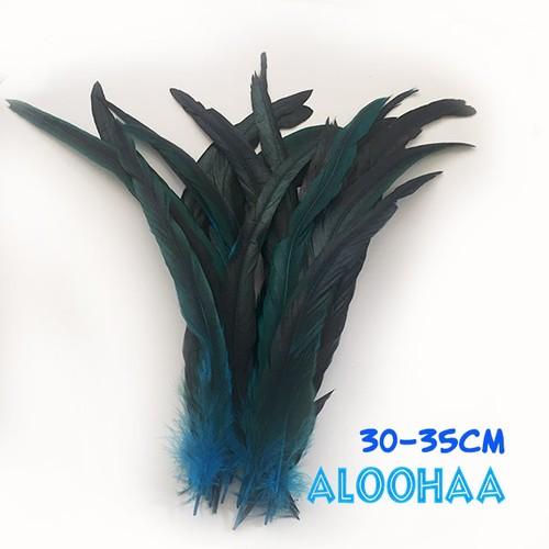 ロングフェザー 【ターコイズ】#30-002TQ30-CT 30-35cm タヒチアン 衣装 材料 ルースターテール 染め 羽根