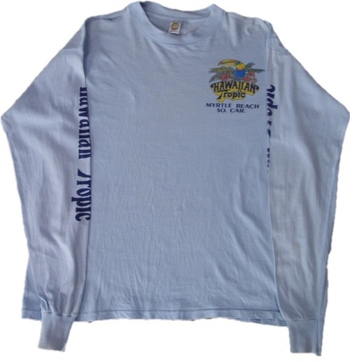 80's MEDALLION Hawaiian Tropic Windsurfing Print L/S T-Shirts(水色)