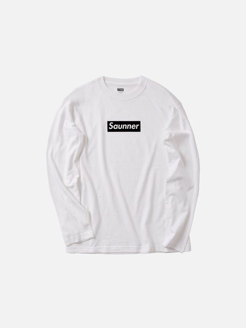 Saunner Box Logo Long Sleeve Tee - White/Black Logo