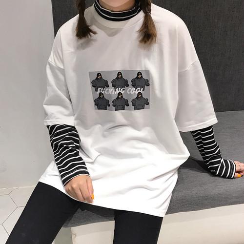 【送料無料】 メンズライクコーデに♡ レイヤード風 ドッキング ボーダー プリントTシャツ トップス