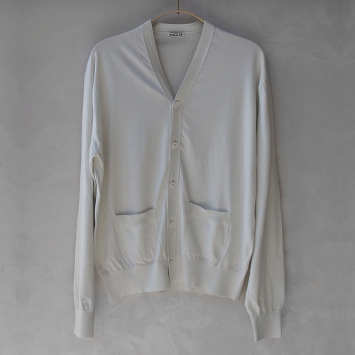 AURALEE SUPERFINE HIGH GAUGE KNIT CARDIGAN IVORY