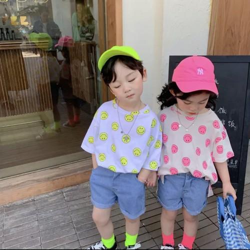 スマイルプリントTシャツ  韓国服 子供服  男女兼用
