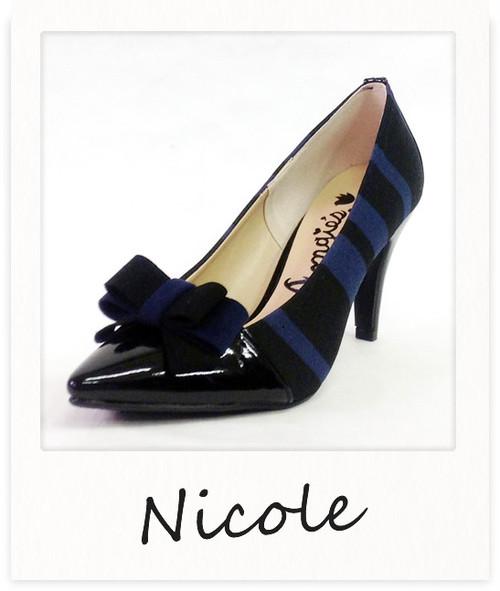 パテントリボンポインテッドパンプス / ネイビー【Nicole】