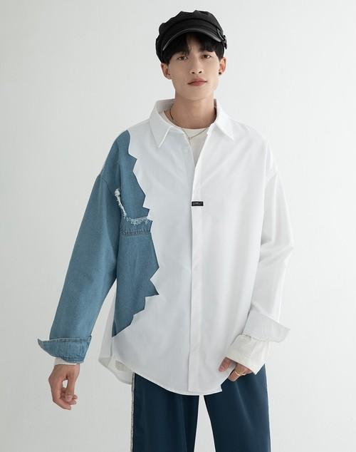 メンズアシンメトリー長袖シャツ。バイカラーがおしゃれホワイト/ブルー2カラー