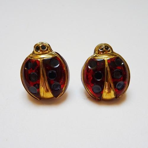 チェコ てんとう虫のピアス / レッド