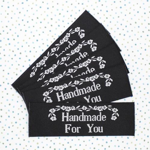 幅広織ネーム「Handmade For You」グレー/黒地(5枚)