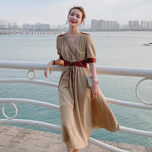 【dress】レディースファッションVネック気質アップ着瘦せデートワンピース