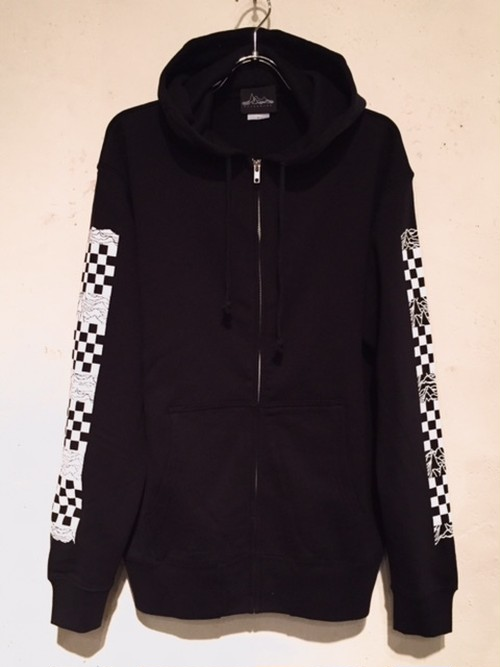 "CHECKER FLAG SLEEVE ZIP HOODIE ""BLACK"""