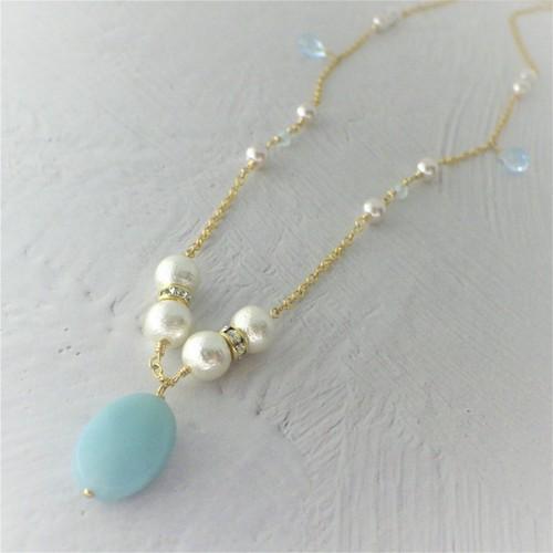 Amazonite&Cotton pearl Necklace
