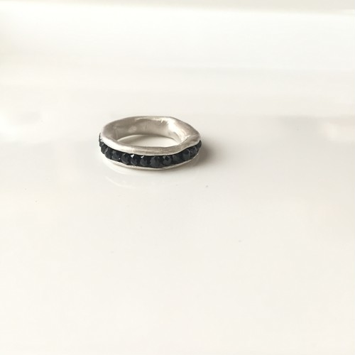 Hold Ring * silver type /black spinel/#10