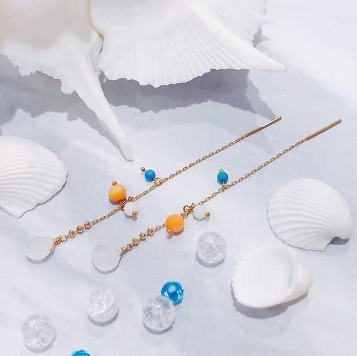 【CORALIA】ビーチ 003 ピアス アメリカン 白珊瑚 ピンク珊瑚 ターコイズ K10