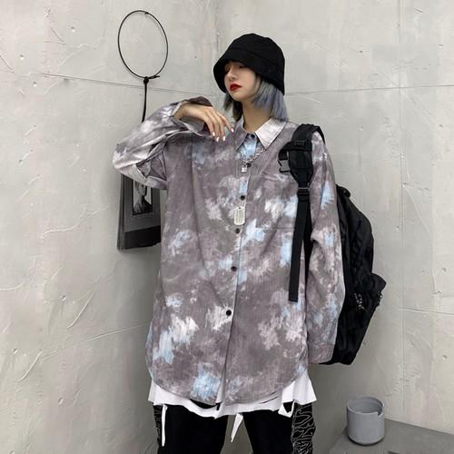 【トップス】レトロ長袖POLOネックシングルブレストグラデーション色シャツ22688530