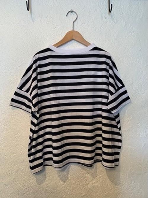 NARU/サイロプレミアムドロップショルダーボーダーTシャツ 09