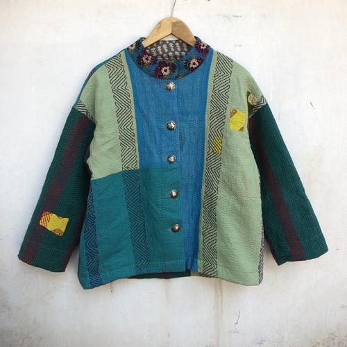 saruche インド刺し子のジャケット 前ボタン