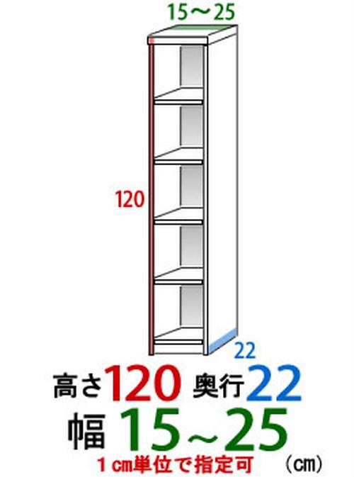 オーダーすき間収納幅15cmー25cm高さ120cm奥行き22cm