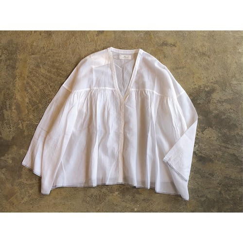 SOIL(ソイル) SUPER FINE VOILE WITH POLY SELVAGE FLY FRONT GATHERED SHIRT