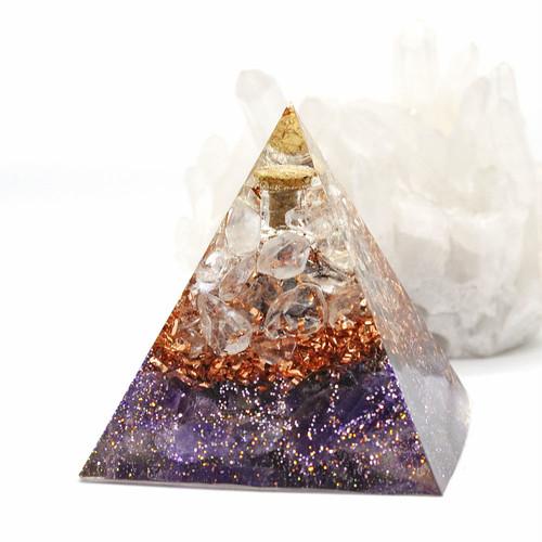 【受注製作】振ると音がなる♪ピラミッド型Ⅱ 小瓶入りオルゴナイト アメジスト