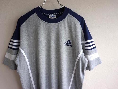 1990's [adidas] エキップメントロゴ Tシャツ グレー×ネイビー 表記(L) アディダス