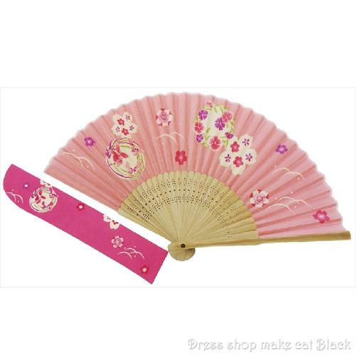 京佑 シルク扇子・袋付 花丸小 K-104 夏祭り 浴衣
