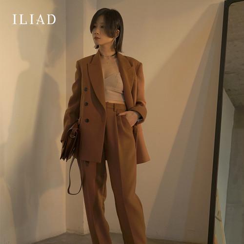 オリジナルILIADデザイナーの婦人服秋の新しい長袖ツーピースファッションソリッドカラーハイウエストスーツの女性 ILIAD7539412