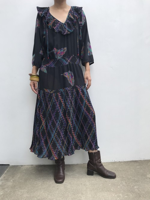 Susan freis black plaid Dress ( スーザンフレイス ブラック チェック柄 ワンピース )