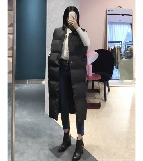 レブロンぺディンロングベスト ロングベスト ぺディンベスト 韓国ファッション