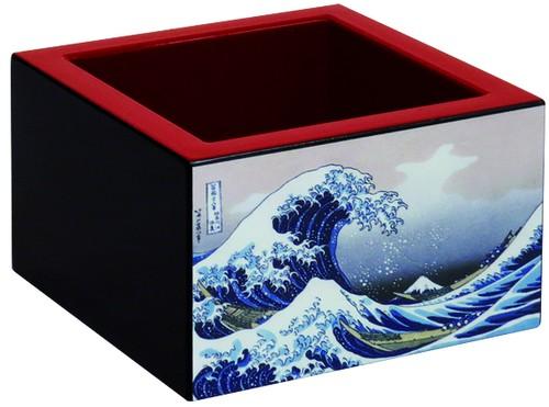 加飾塗枡 赤・絵付き8勺 「神奈川沖浪裏」