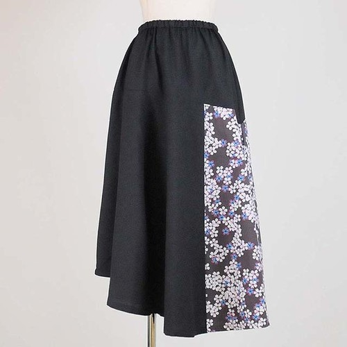 gouk 8パーツ切り替えロングスカート   GGD26-S365 BK-WH/M
