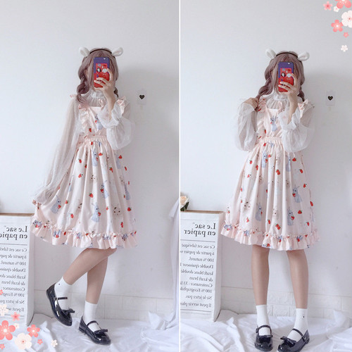【セットアップ】日系可愛い少女長袖シャツ+フリルシフォン新作ワンピース