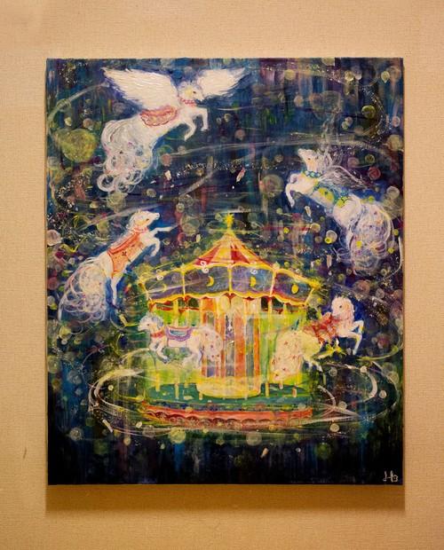 キャンバス原画「わくわく はじけて 夜空に飛びでた」