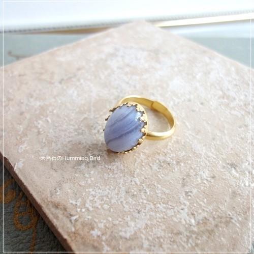 天然石の指輪◆ブルーレースアゲート◆クラウンシリーズ