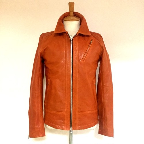 Sheep Leather Vegetable-Tanning Single Riders JKT Orange
